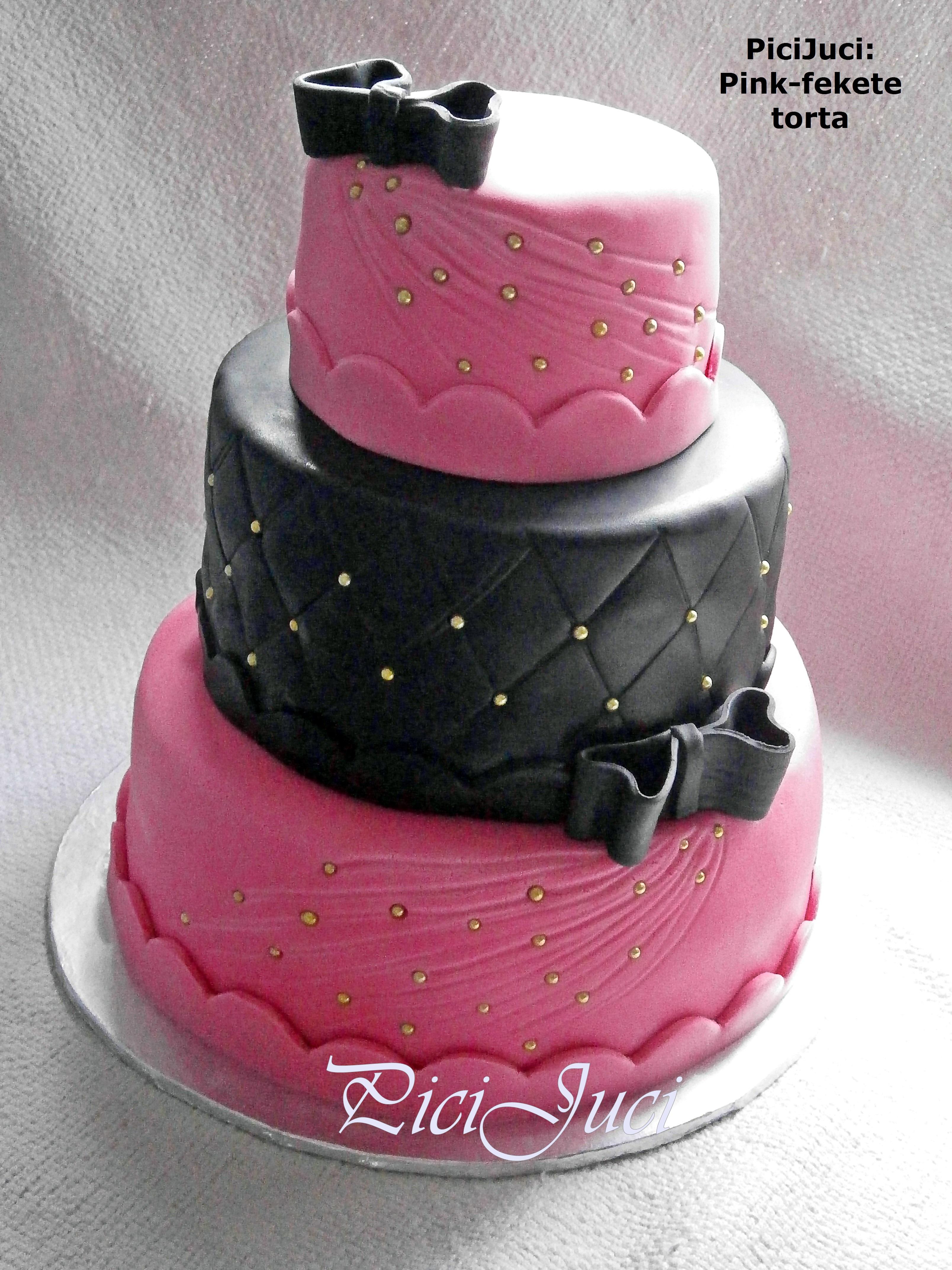 emeletes születésnapi torták Pink fekete 3 emeletes torta/ Pink black 3 tier cake « Picijuci  emeletes születésnapi torták